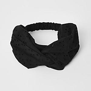 Schwarzes Haarband mit Lochstickerei