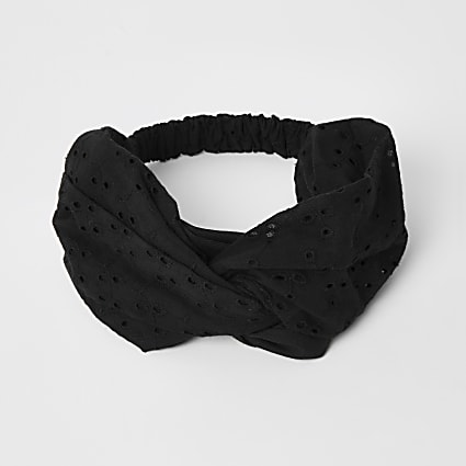 Black broderie twist front headband