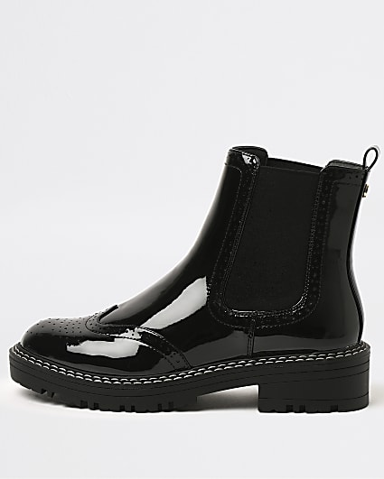 Black brogue detail chelsea ankle boots
