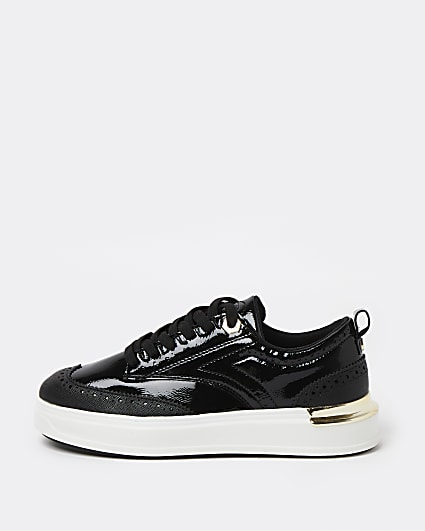 Black brogue detailed chunky trainers