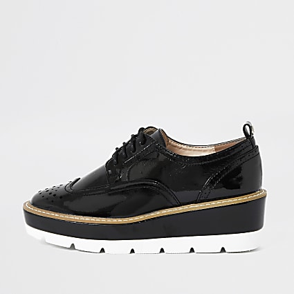 Black brogue lace up platform shoe