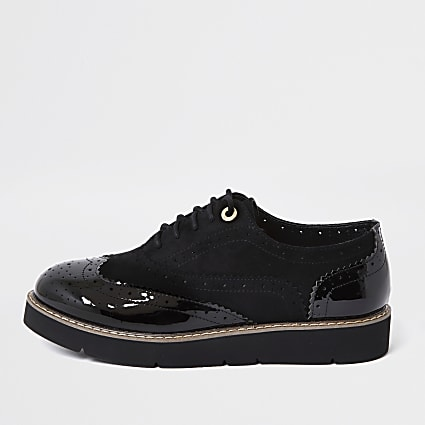 Black brogue lace up shoe