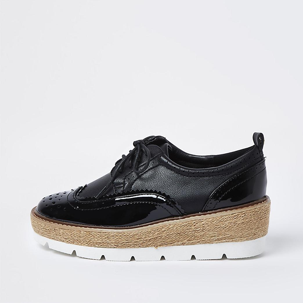 Black brogue wedge platform shoes