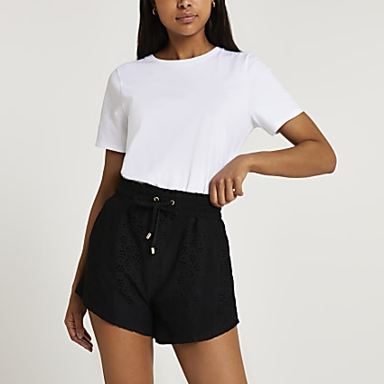 Black broidery high waisted shorts