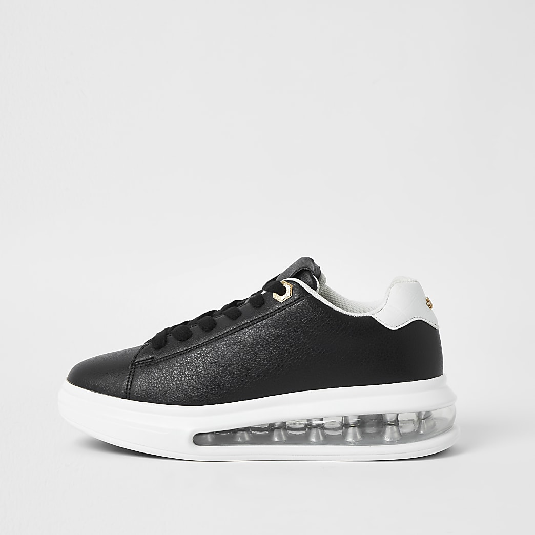 Black bubble lace up outsole trainers