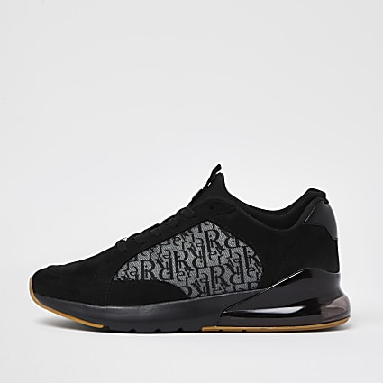 Black bubble monogram lace up runner trainers