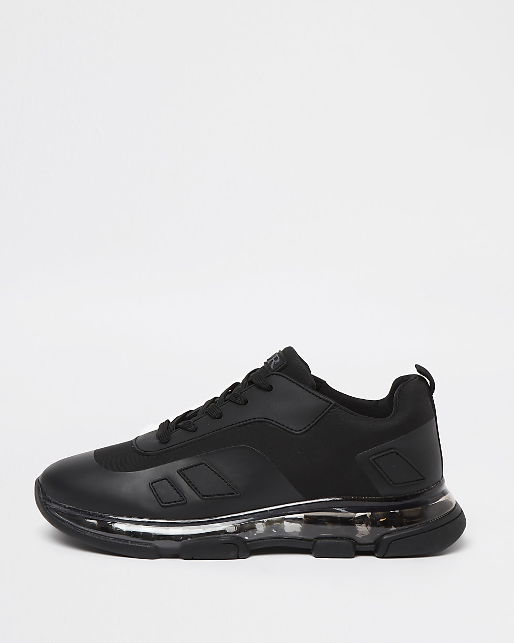 Black bubble sole lace up runner trainers