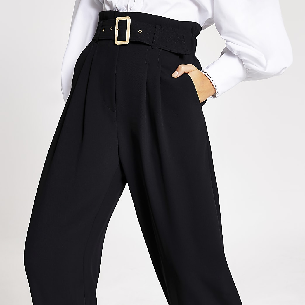 Black buckle belted wide leg trousers