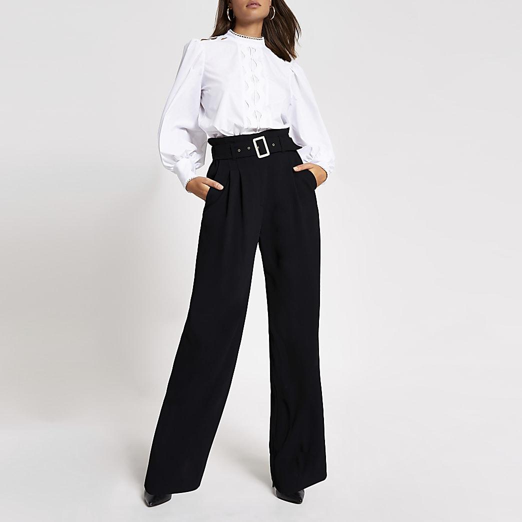 Black buckle belted wide leg trousers