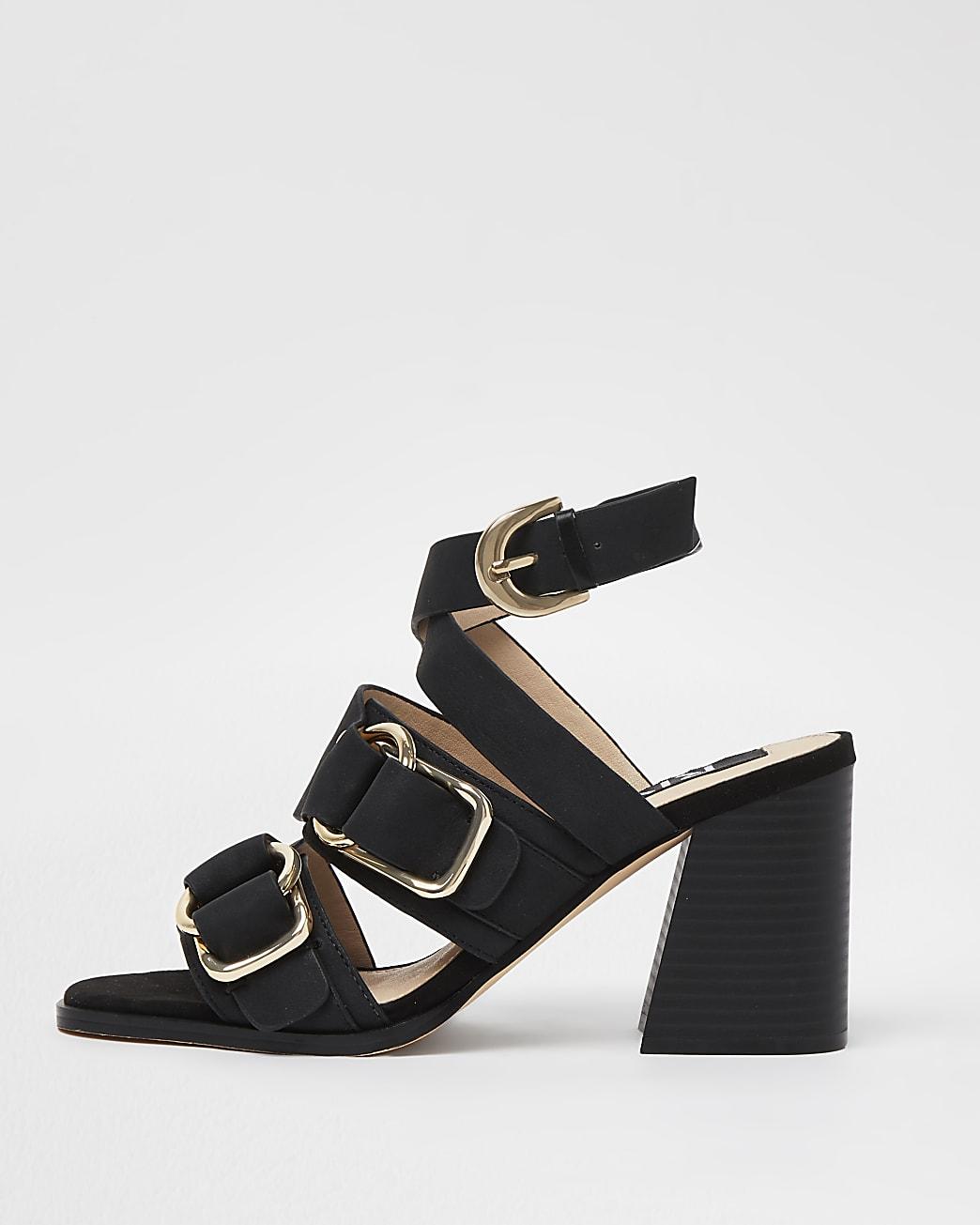 Black buckle block heels