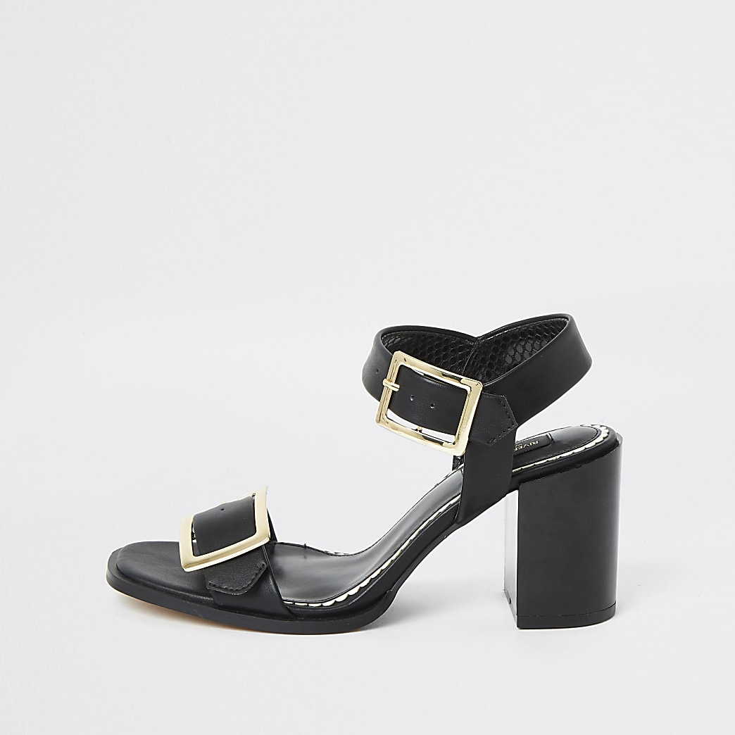 Black buckle blocked heel wide fit sandals