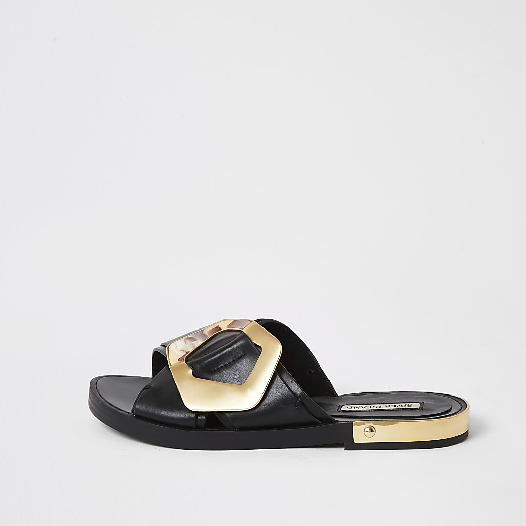 Black buckle cross over strap sandals