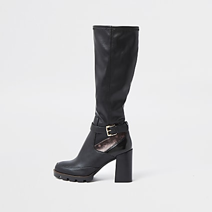 Black buckle detail heel boots