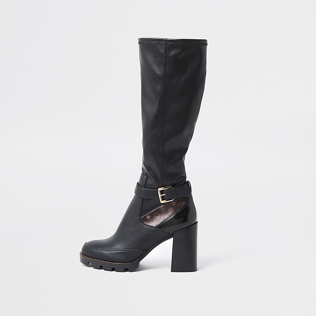 Black buckle detail heel boots
