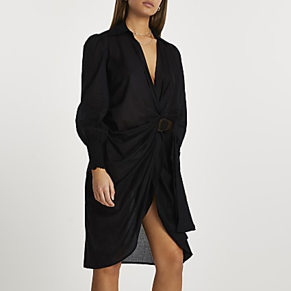 Black buckle midi shirt dress