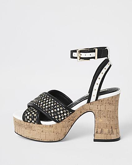 Black buckle platform heels