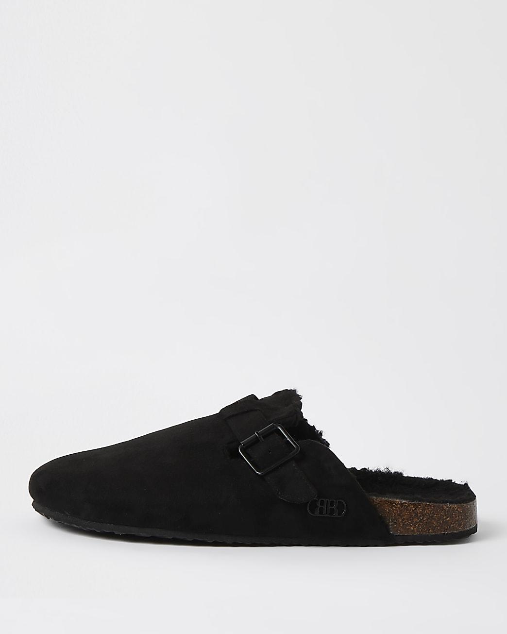 Black buckle slip on mule slippers