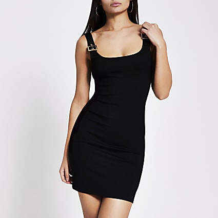 Black buckle strap bodycon mini dress