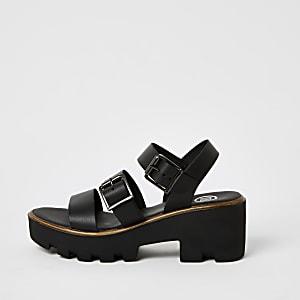 Robuste Sandalen in Schwarz mit Riemenschnallen
