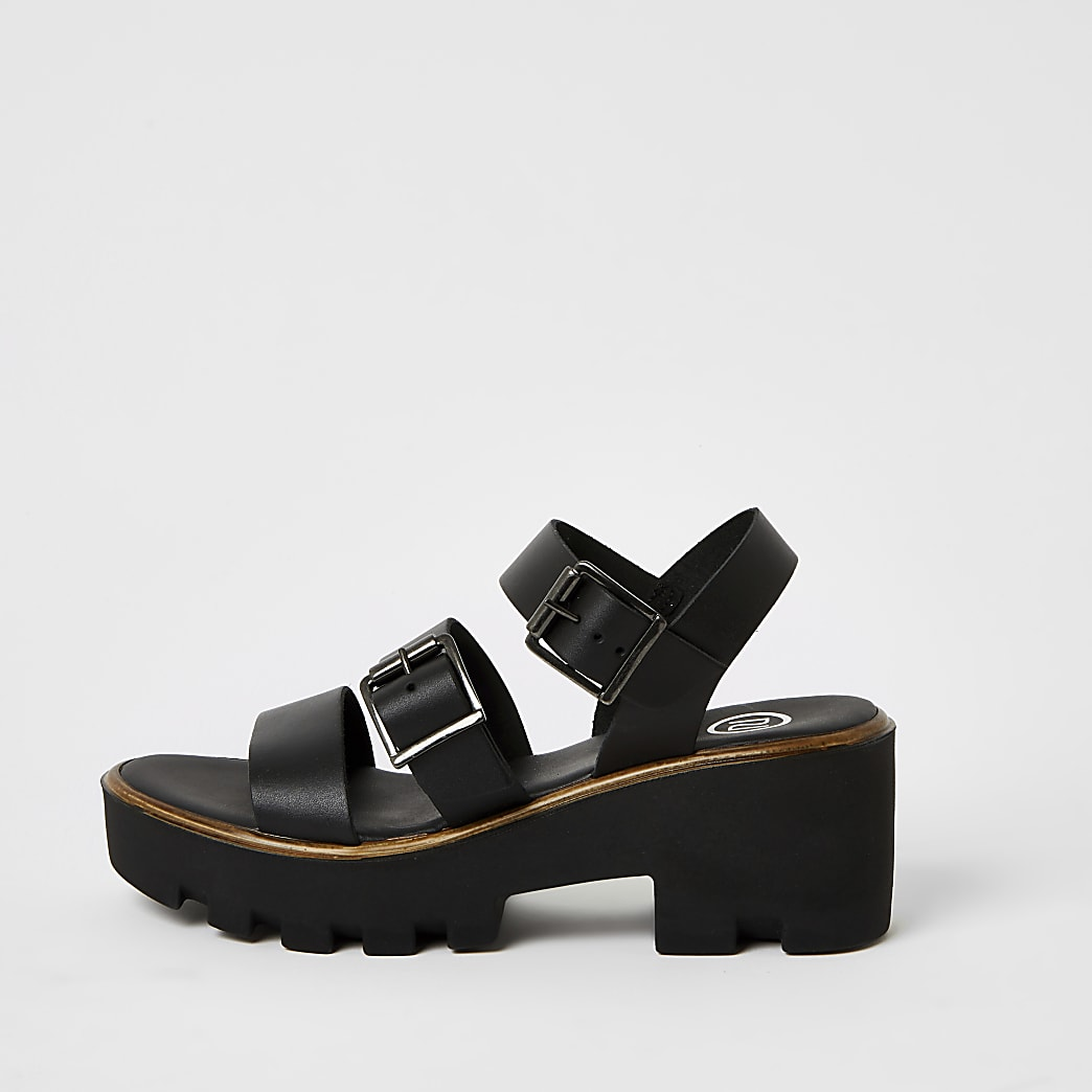 Black buckle strap chunky sandals