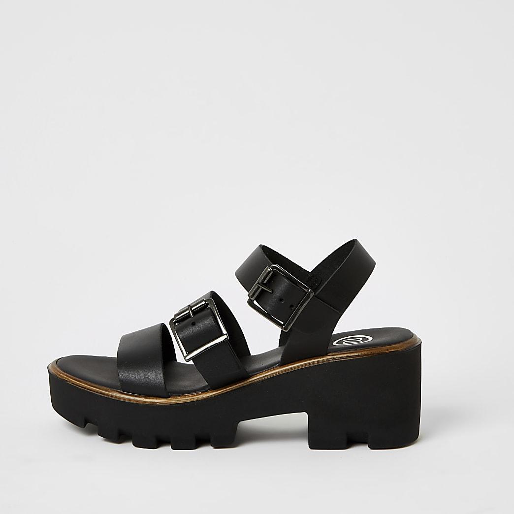 Zwarte stevige sandalen met bandjes met gespen