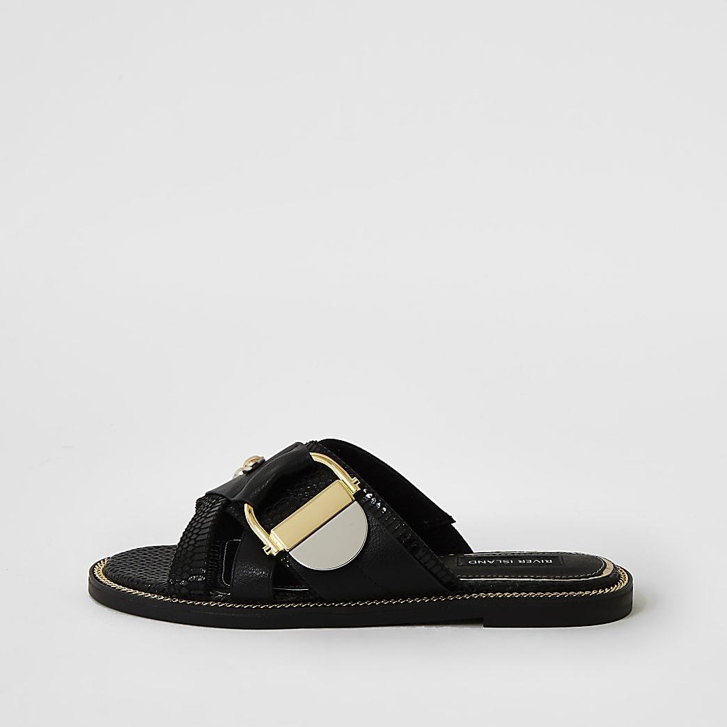 Black buckle studded strap Mule sandals