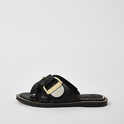 Black buckle studded strap wide fit sandals