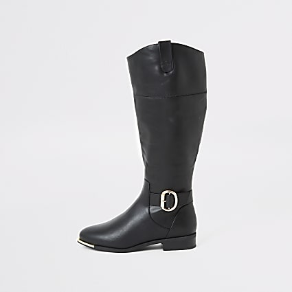 Black buckle wide fit riding boots