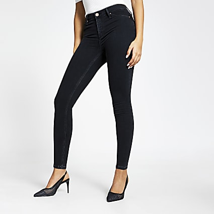 Black bum sculpting Molly mid rise jeggings