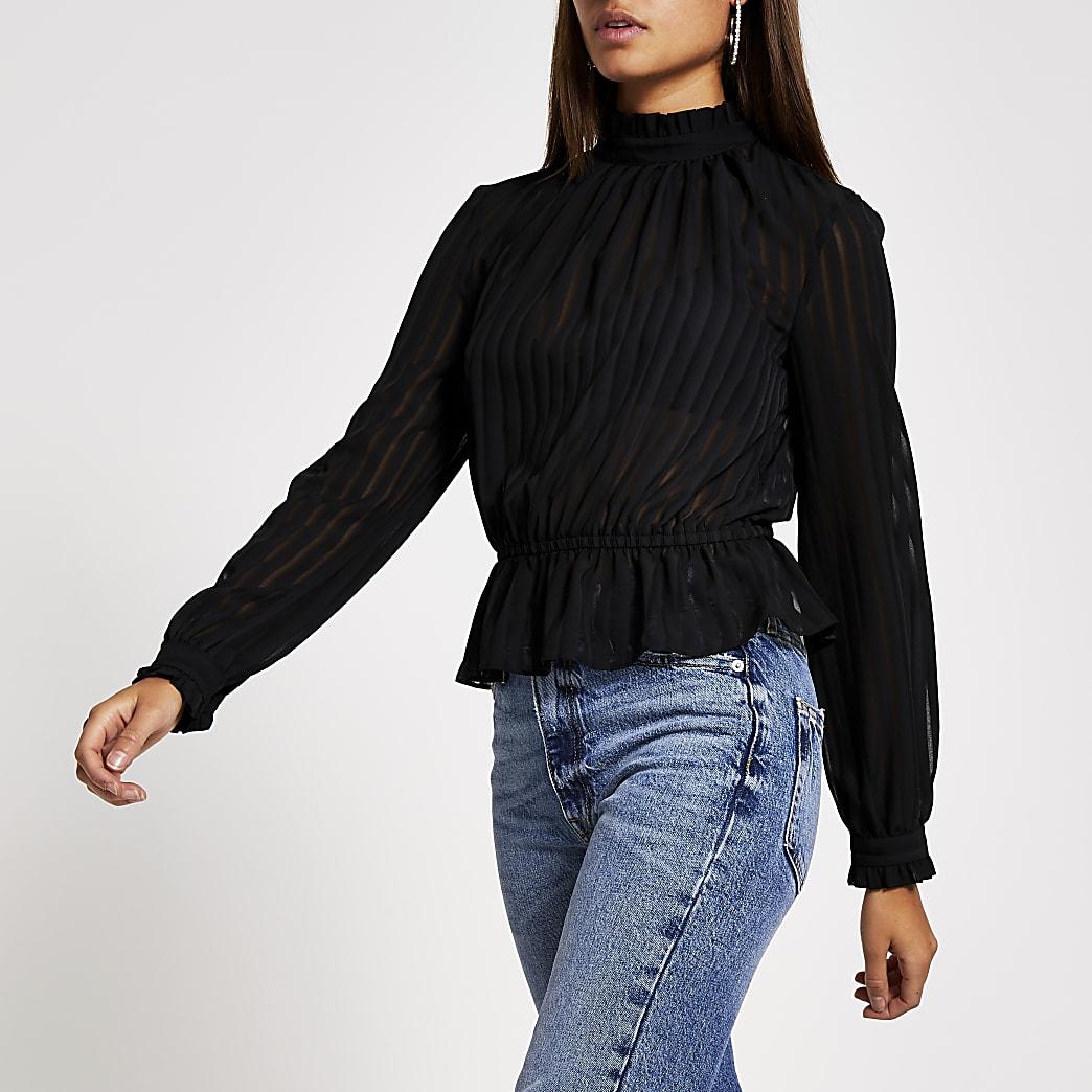 Black burnout stripe long sleeve blouse