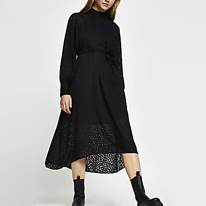 Black burnout tie waist midi dress