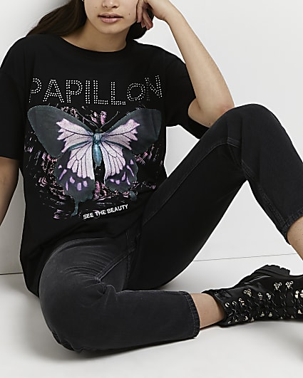 Black butterfly heatseal oversized t-shirt