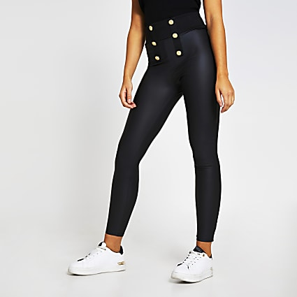 Black button detail coated leggings