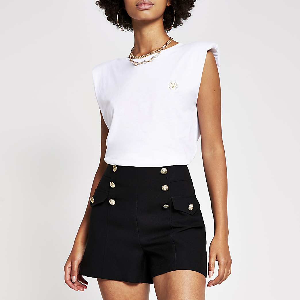 Black button detail structured short
