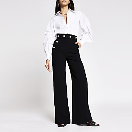 Black button detail wide leg trouser
