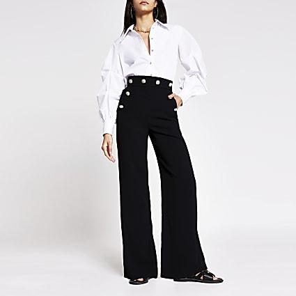 Black button detail wide leg trouser