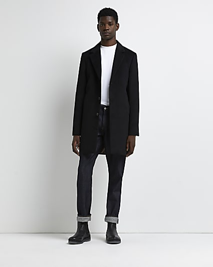 Black button down overcoat