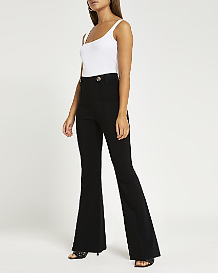 Black button flared trousers