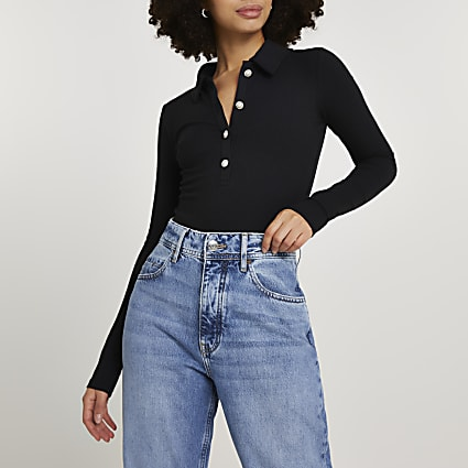 Black button front collar bodysuit