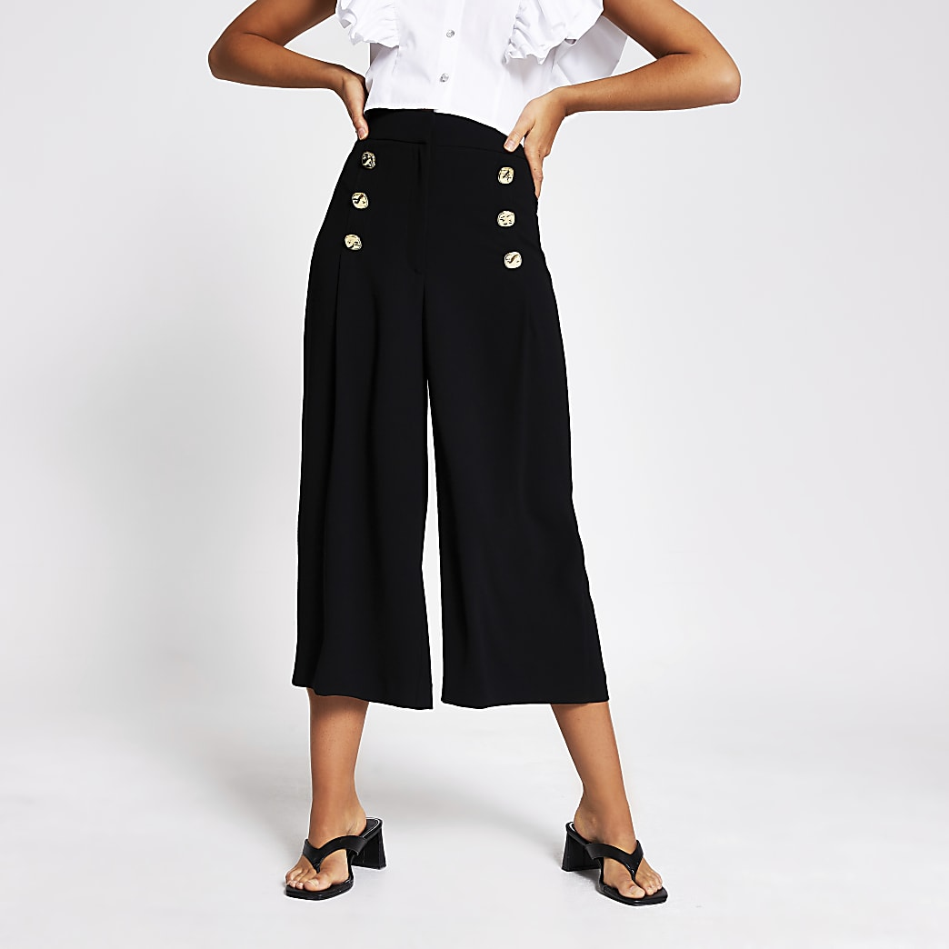 Black button front culottes