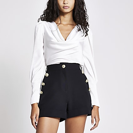 Black button front high rise shorts