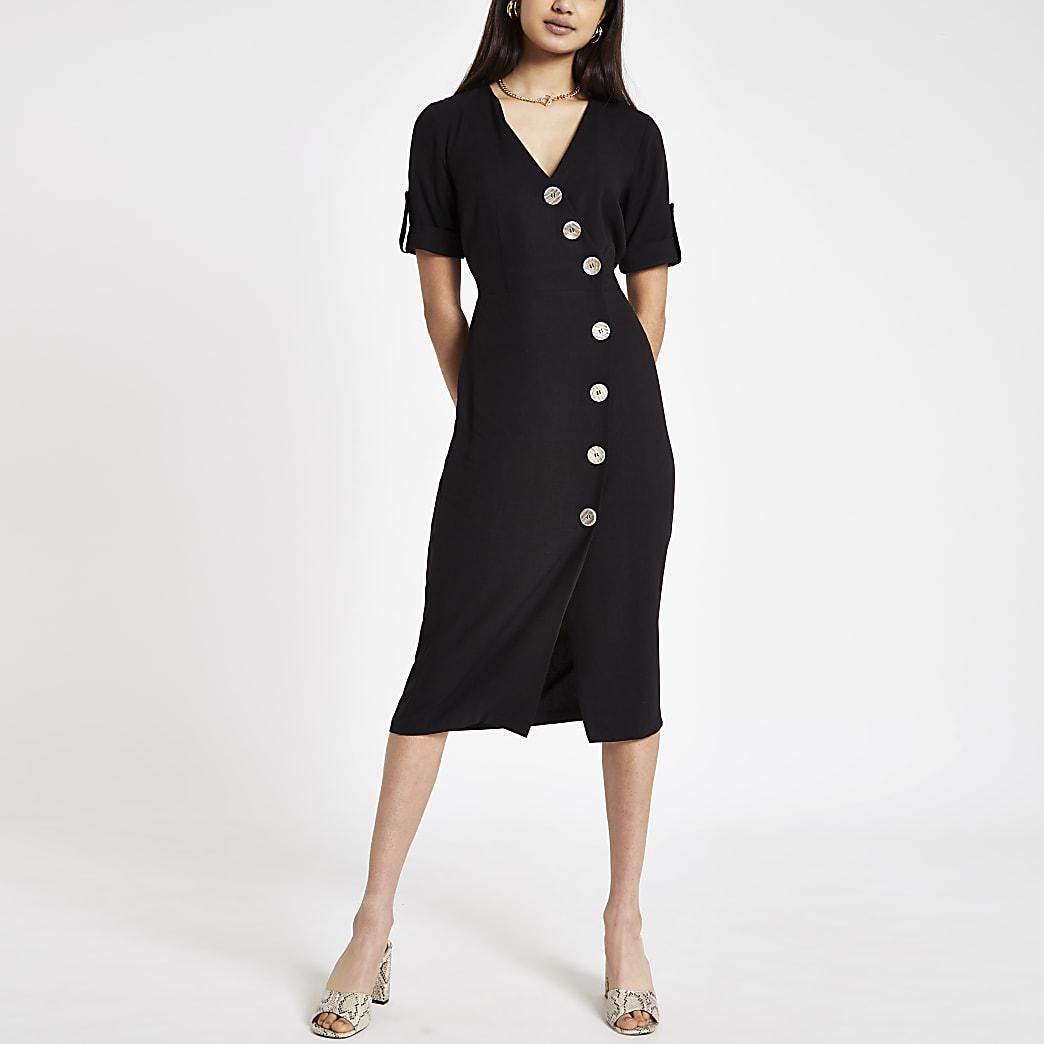 Black button front midi dress