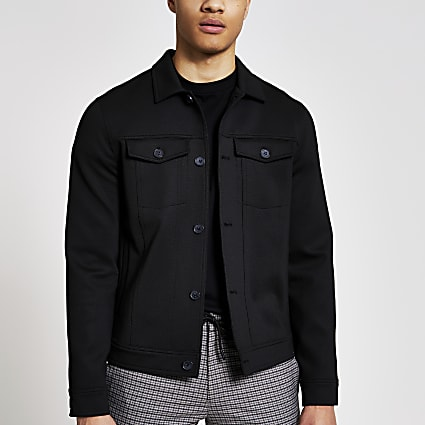 Black button front skinny fit western jacket