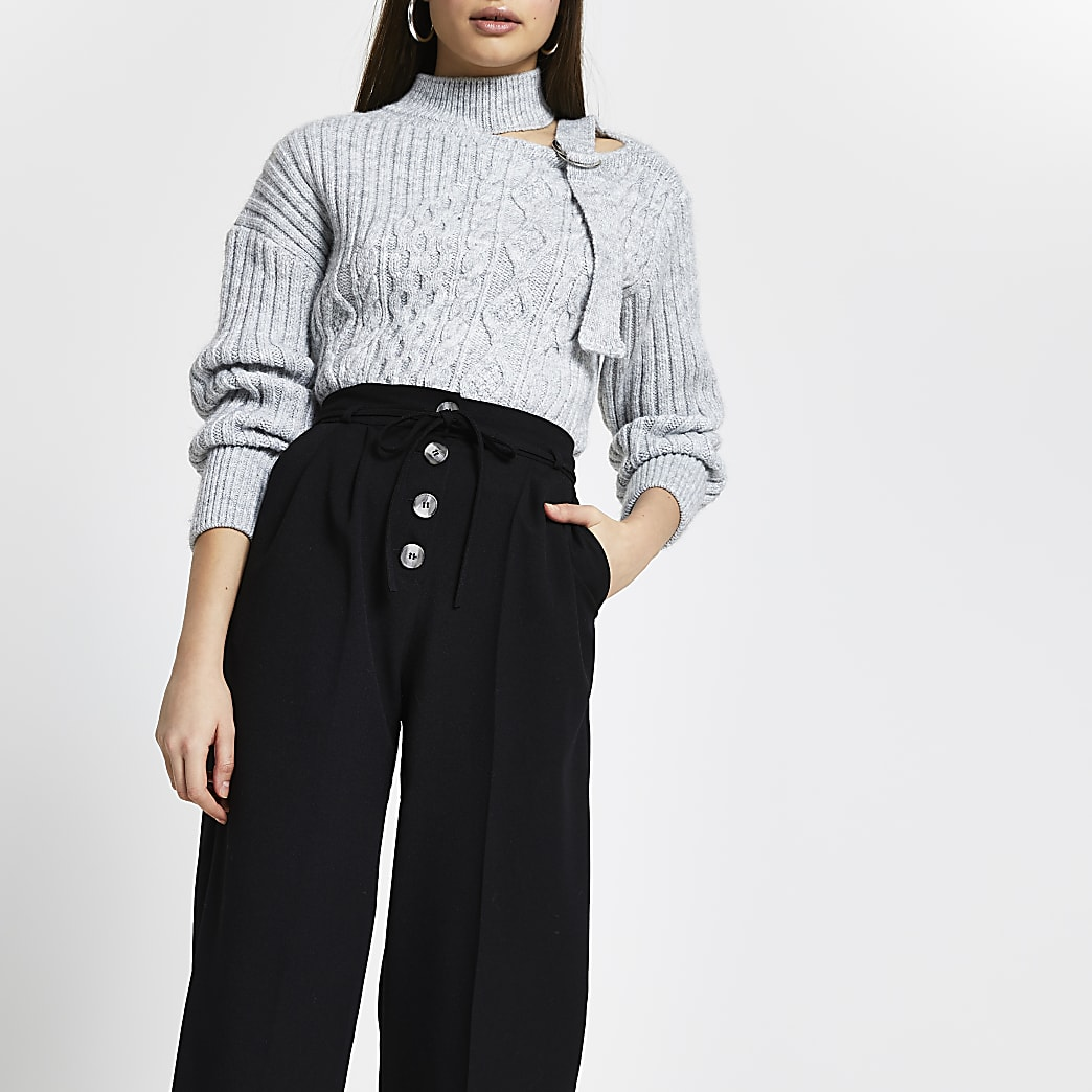 Black button front trousers