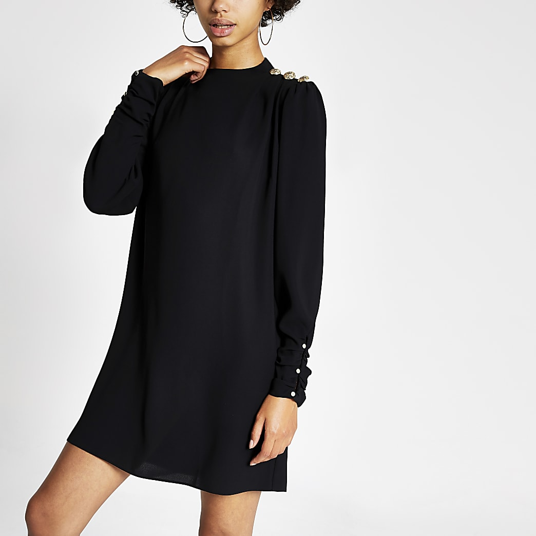 Black button shoulder mini swing dress
