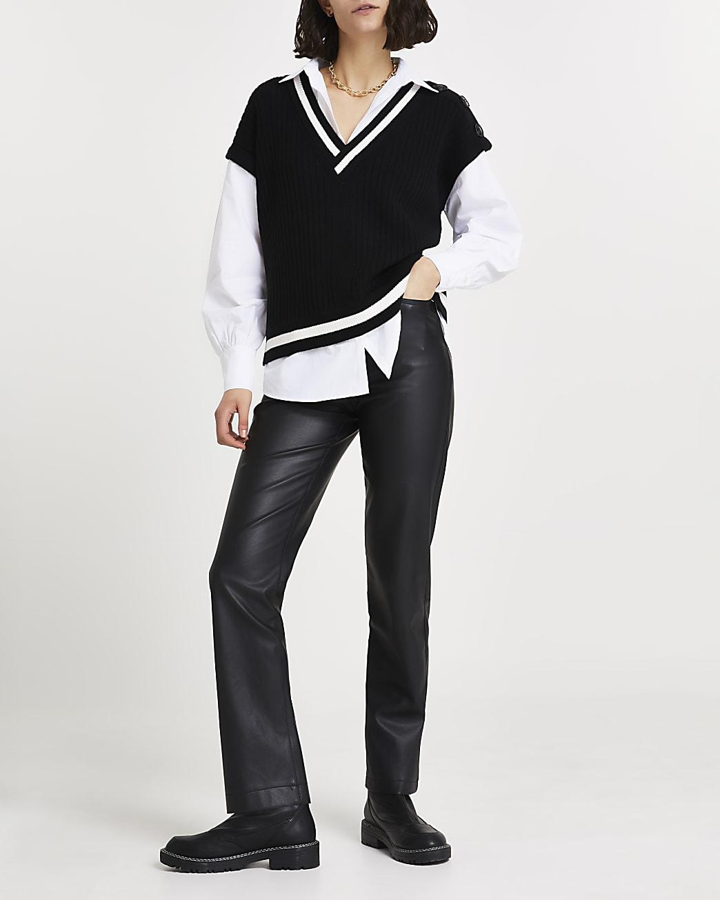 Black button shoulder tank shirt