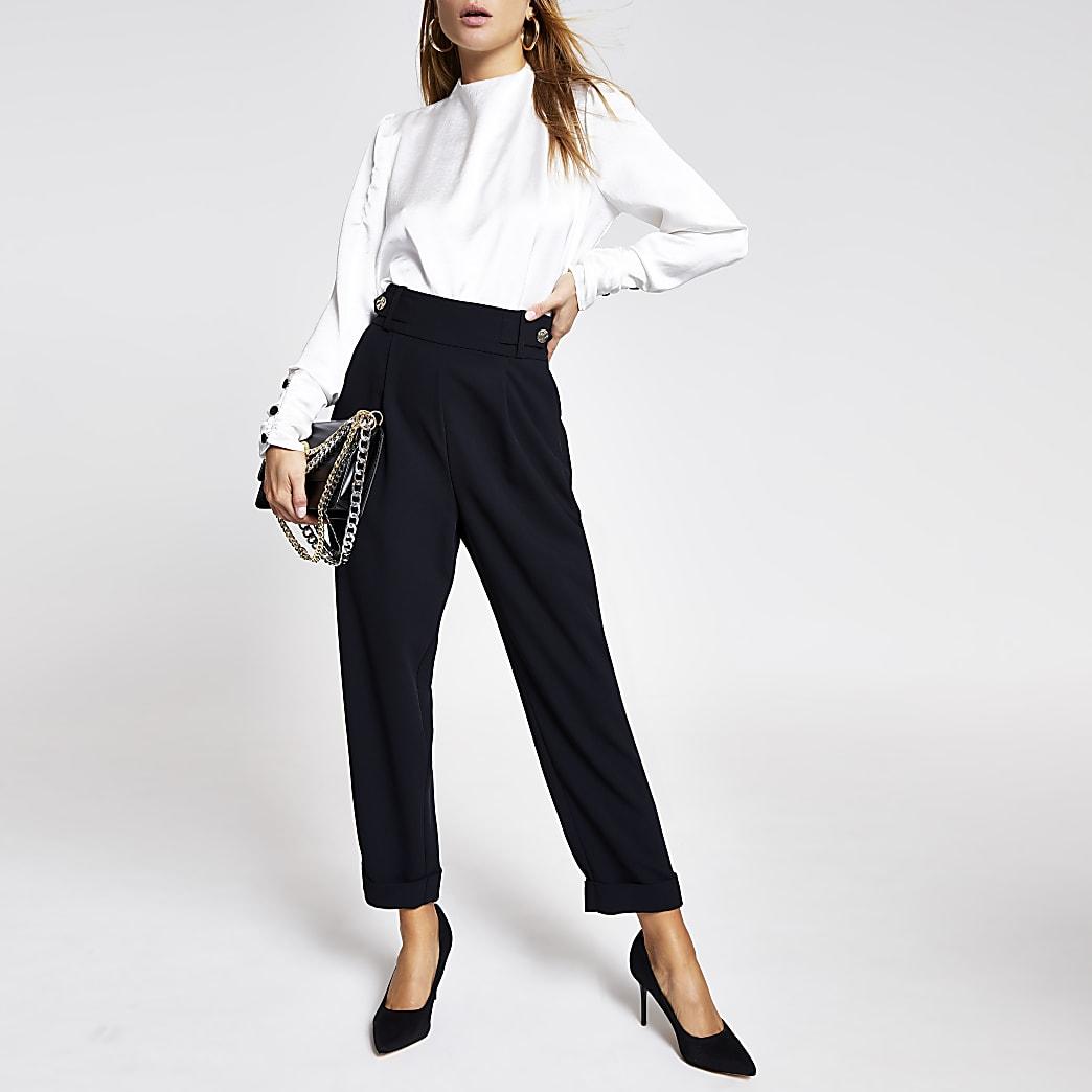 Black button side peg trousers
