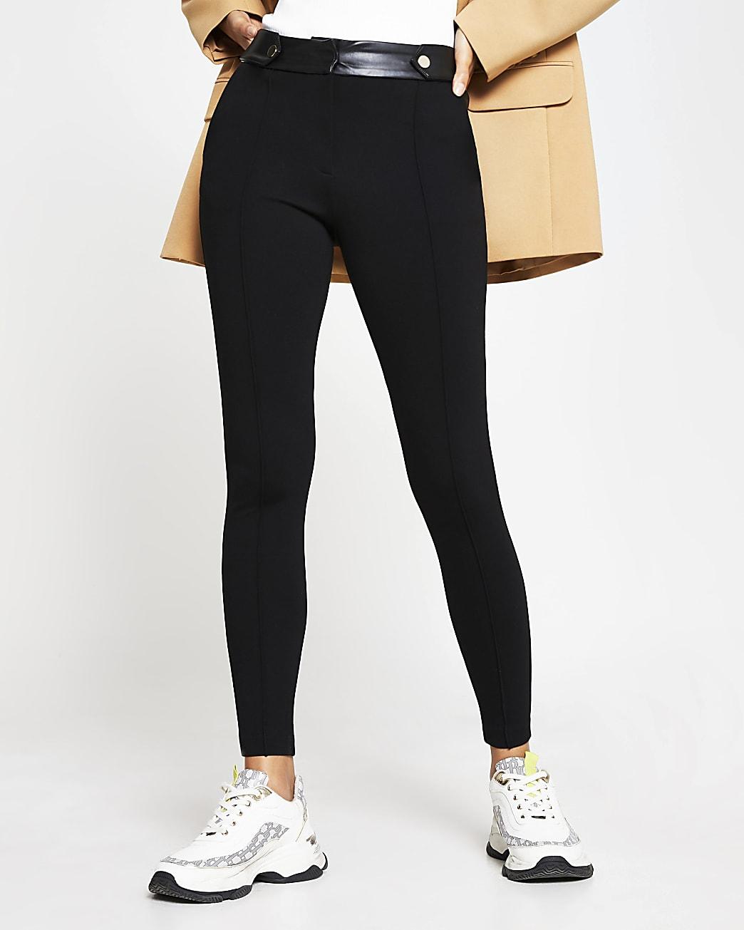 Black button tab skinny ponti trousers