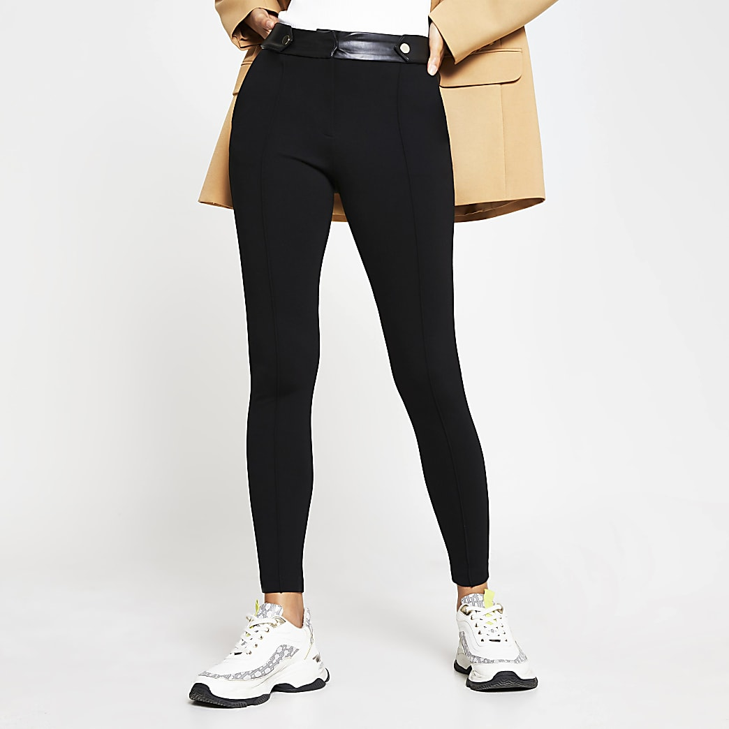 Black button tab skinny ponti trousers