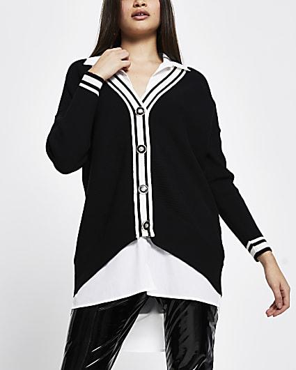 Black button up long sleeve shirt jumper